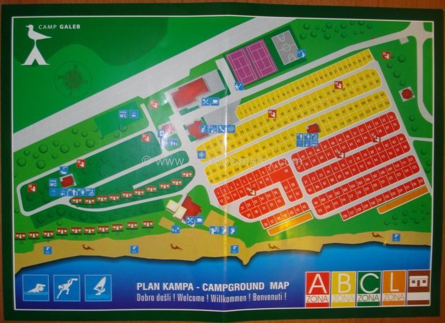 kort over Camping Galeb