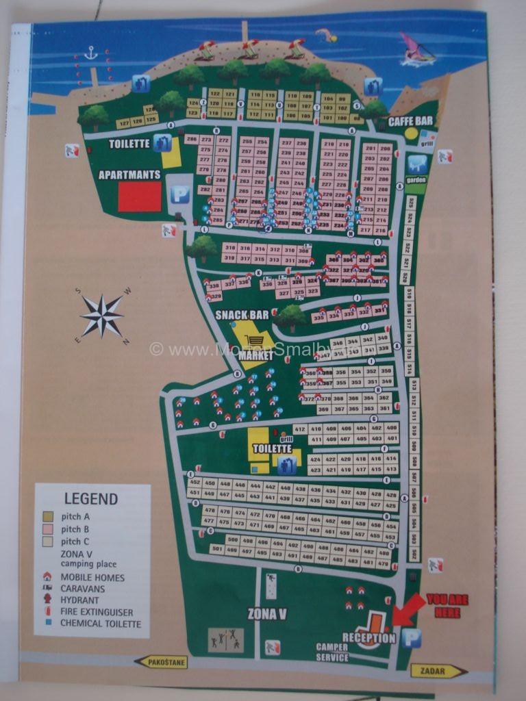 Kort Over Camping Kozarica Alt Om Ferie I Kroatien
